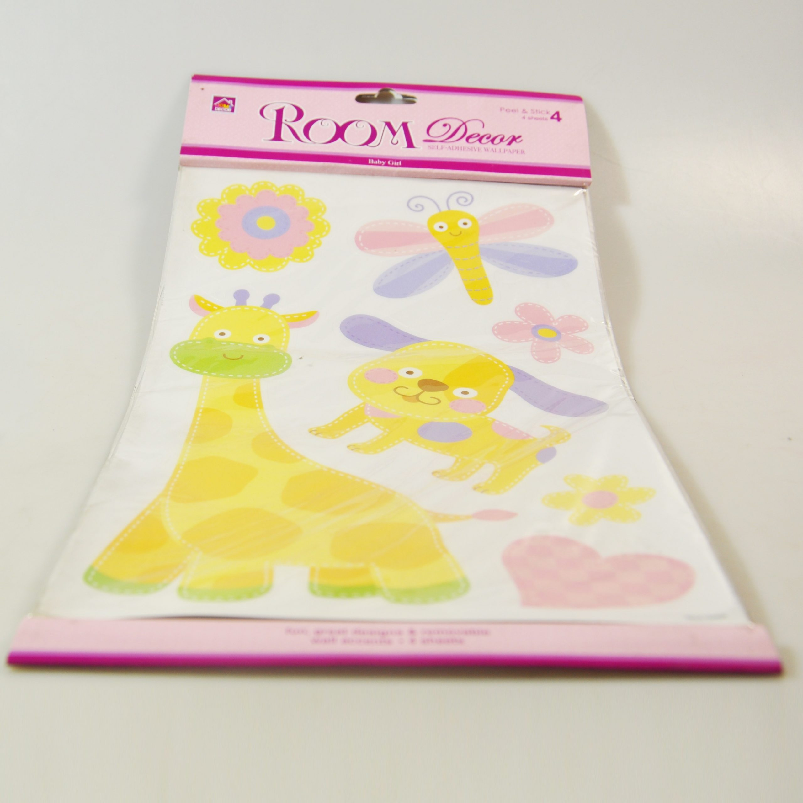 SET 4 STICKERS MURAUX BABY GIRL ROSE REF 7043 PROMO FIN17