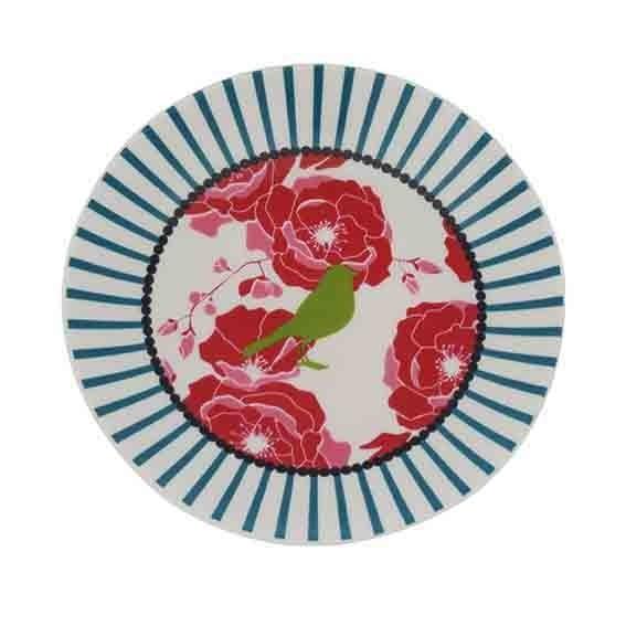 ASSIETTE OISEAU VERT RAYURE BLEU 12 CM DUTCH ROSE REF 174359/175955