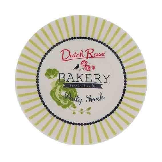 ASSIETTE BAKERY RAYURE VERT 12 CM DUTCH ROSE REF 174357