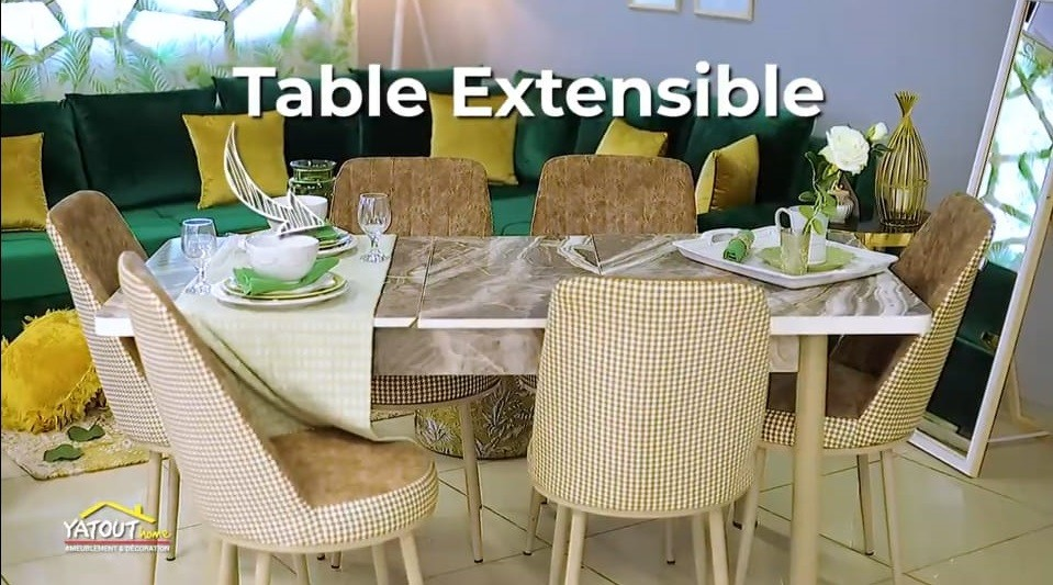 TABLE EXTENSIBLE EFFET MARBRE + 6 CHAISES